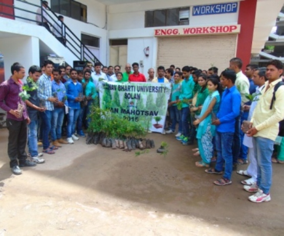 Manav Bharti University-tree plantation in solan