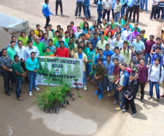 Manav Bharti University-students planting trees